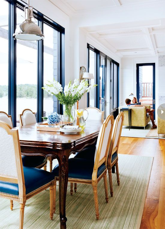 Dining room design: A beautiful dining room design with a nautical colour palette {PHOTO: Donna Griffith}