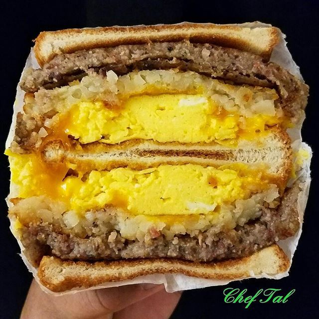This is my Home state of Pennsylvania in a sandwich. Fried Amish Scrapple/Crispy Hash Brown/Cheddar…
