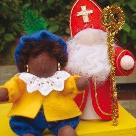 Sint en Piet van vilt met gratis patroon van De Witte Engel Patronenservice