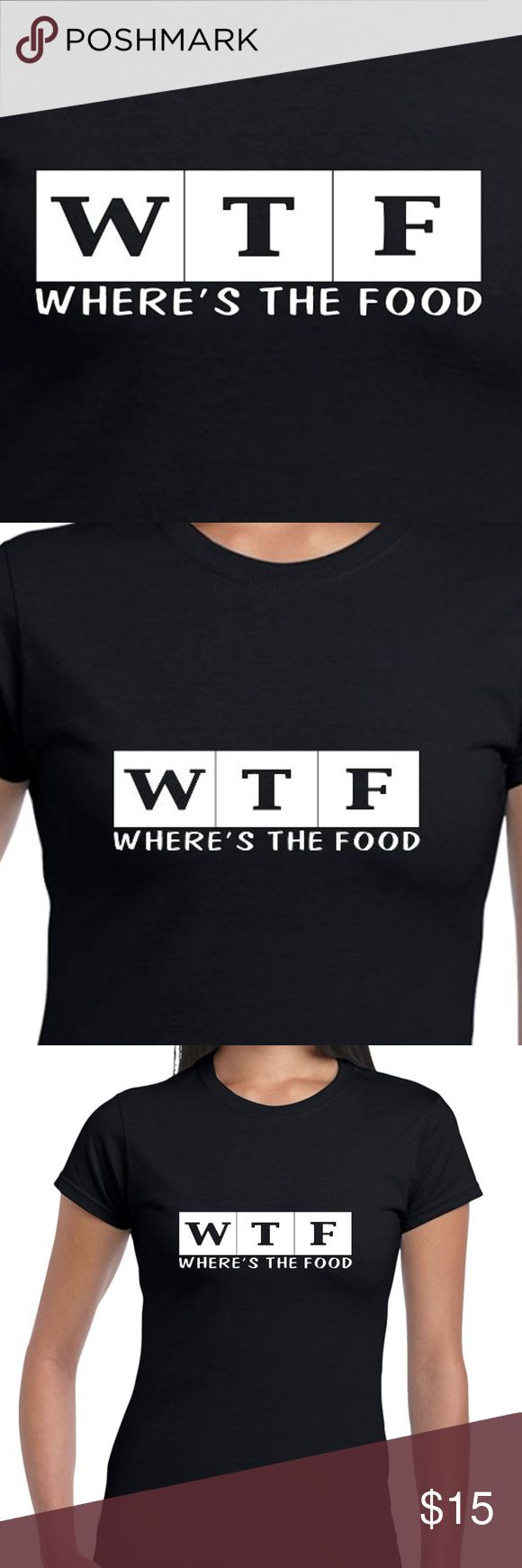 "Reflective Or Glow In The Dark Tee ""WTF Where's The Food"" Women's Tee.  IMPORTANT: Default order is ""Glow In The Dark"". For reflective, please tag us upon ordering!  - The base tee is Cotton Plant-Based, and 100% Made In The USA (No sweatshops, slave labor, etc). - The design is white during the day, and a vibrant green glow in low, or no light conditions. - From dusk to early dawn VISIBL designs are great for biking, jogging, concerts, clubbing, camping & more! VISIBL Tops Tees - Short…"