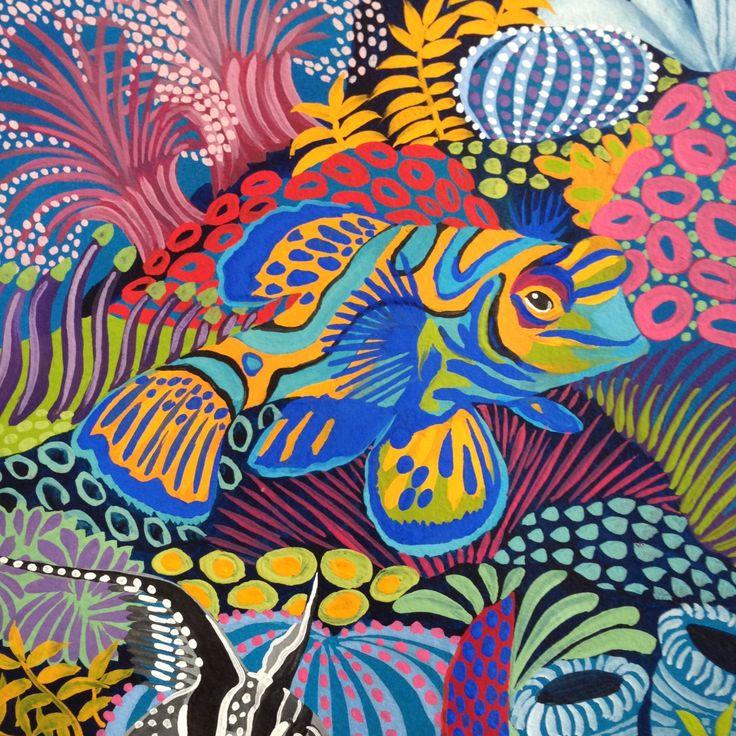 Under The Waves Hermès Paris silk carré design S/S 2016 collection Original design 90cm x 90cm Gouache on paper