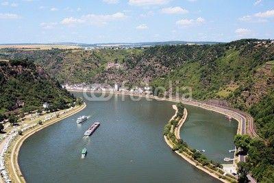 The Rhine (Rhein) is the twelfth longest river in Europe. Look at Sankt Goarshausen from the Lorelei (Loreley).