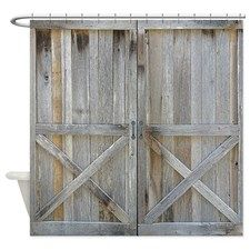 old rustic barn door shower curtain coastal vintage and modern rustic shower curtains rebecca korpita coastal design - Modern Rustic Shower