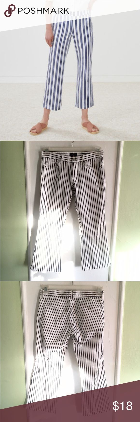 Polo Jeans Co Ralph Lauren b&w stripe crop jeans Polo Jeans Co Ralph Lauren white with back stripes cropped jeans with slight flare. Mid Rise size 4. In like new condition. ***First photo is only to show fit*** Polo by Ralph Lauren Jeans Ankle & Cropped