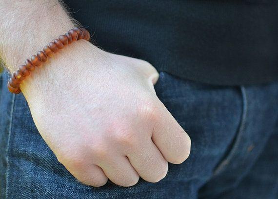 Amber Men's Bracelet Men Bracelet Boho Baltic Amber Bead by KARUBA