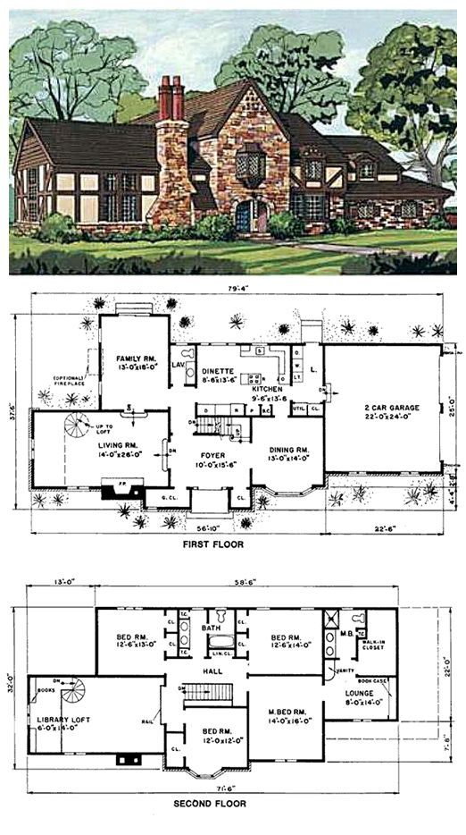 #HousePlan 43030 has 3020 square feet of living space, 4 bedrooms and 2.5 bathrooms.  #Tuscan flavor is evident in the stone, stucco, decorative half timbering and oriel window of the exterior. Though almost 80' wide, no space is wasted with awkward hallways, and the bedrooms are upstairs, privately separated from the living space. A spiral staircase takes you from the living room up to a unique library loft with built-in bookcases.