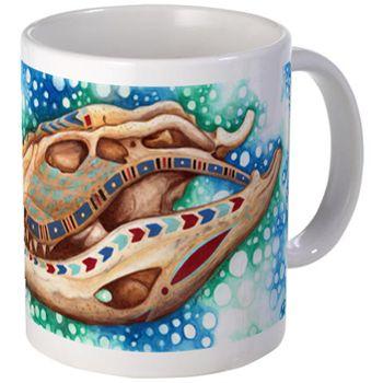 Nile Crocodile Mugs from cafepress store: AG Painted Brush T-Shirts. #mug #Egypt #crocodile #skull