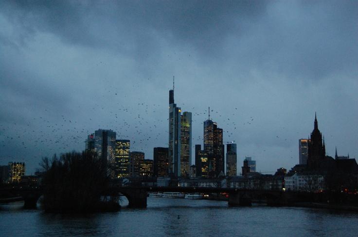 Frankfurt. Cloudy autumn dusk...