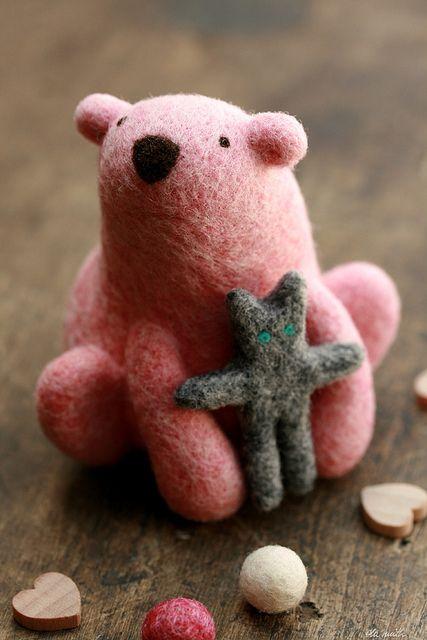 Pink polar bear & his softie {needle felted} by ola smith, via Flickr