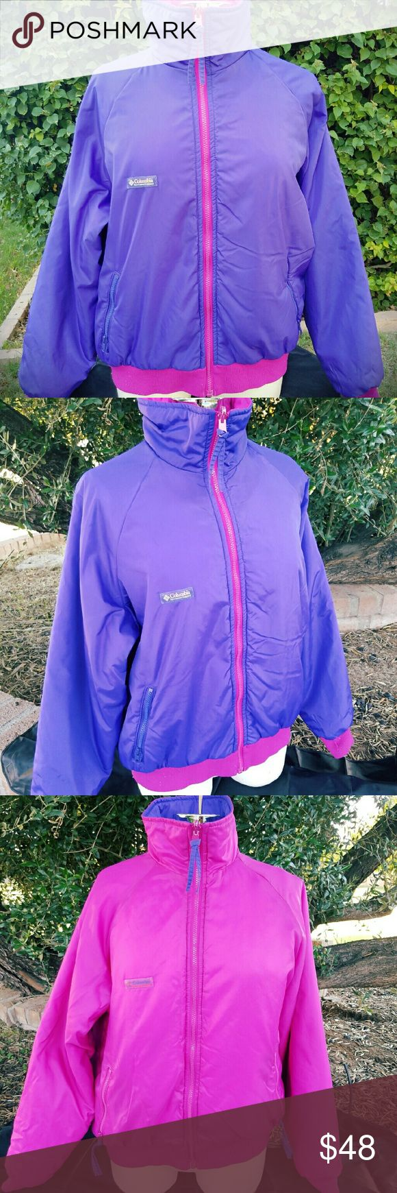 Columbia Sportswear company reversible jacket Beautiful in pretty good condition but it has some peeling in the zipper. Please refer to the picture. Columbia Jackets & Coats Pea Coats