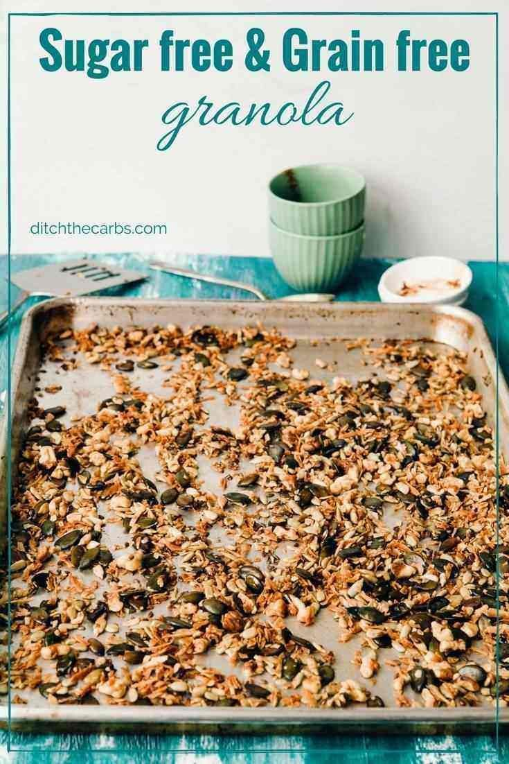 Sugar free and grain-free granola. See how easy it is to make and the 5 big mistakes people make for thinking granola and cereal is healthy.   ditchthecarbs.com via @ditchthecarbs