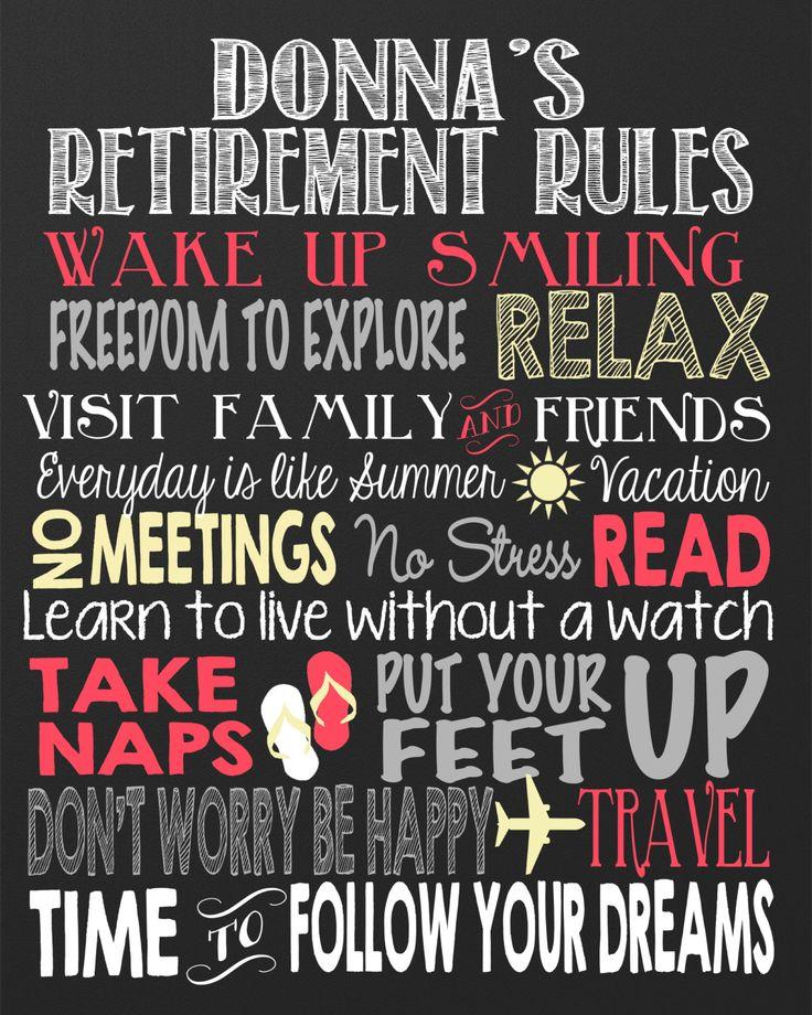 Retirement Rules Chalkboard Custom retirement board