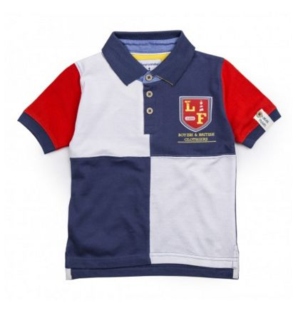 BARDSEY POLO SHIRT - Making sure he's ready for anything, our boys cotton Bardsey polo shirt features contrasting sleeves, vibrant patchwork detailed design to the front and Lucas Frank embroidered crest logo to the chest. #LucasFrankKids