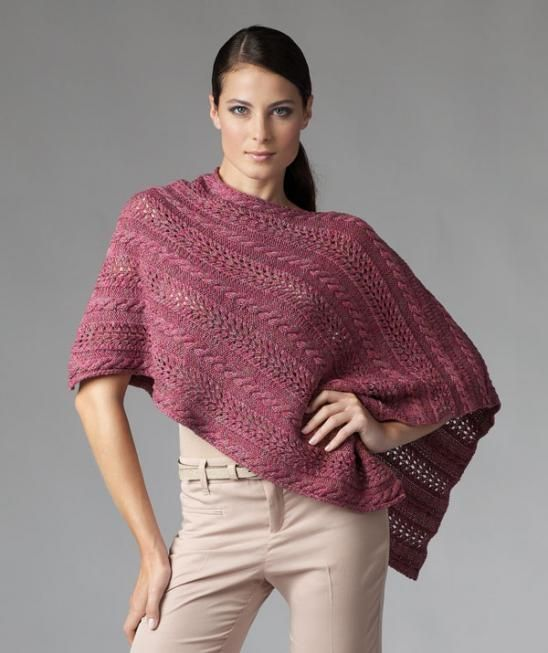 Lace Poncho Knitting Pattern : Free knitting pattern for asymmetric poncho with lace and cables and more fre...