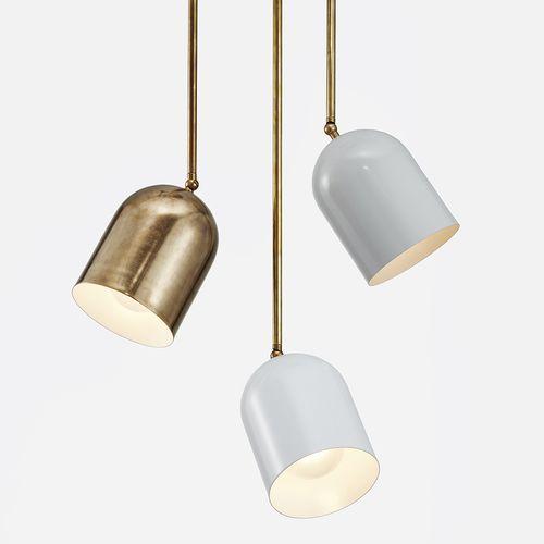 Trio set of brass and white powdercoat spotlight/ pendants Duomo Pendant Trio
