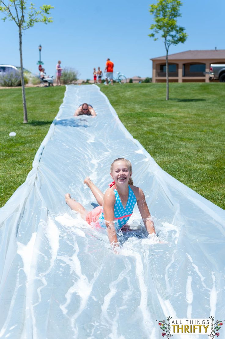 Homemade water slide (with soap)!