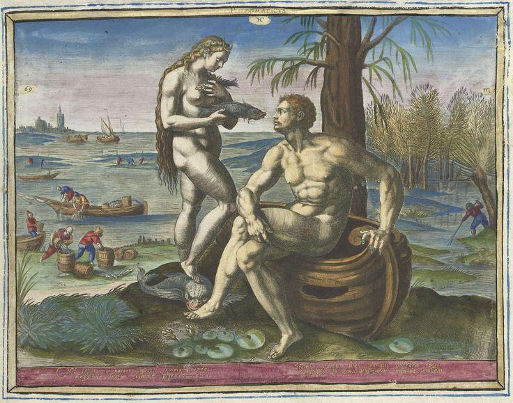 Raphaël Sadeler (I) | Flegmatisch temperament, Raphaël Sadeler (I), 1583 | Een naakte man zit op een kapotte vissersboot. Bij zijn voeten bloeien waterlelies. Naast hem staat een naakte vrouw met vissen in haar handen en schelpen in haar lange haar. Ook heeft ze een maansikkel, het symbool van Diana, op haar hoofd. Ze personifiëren de mensen met een flegmatisch temperament. Achter hen zijn vissers bezig de netten op te halen en aan land worden de vissen in vaten gedaan. Bovenaan links…