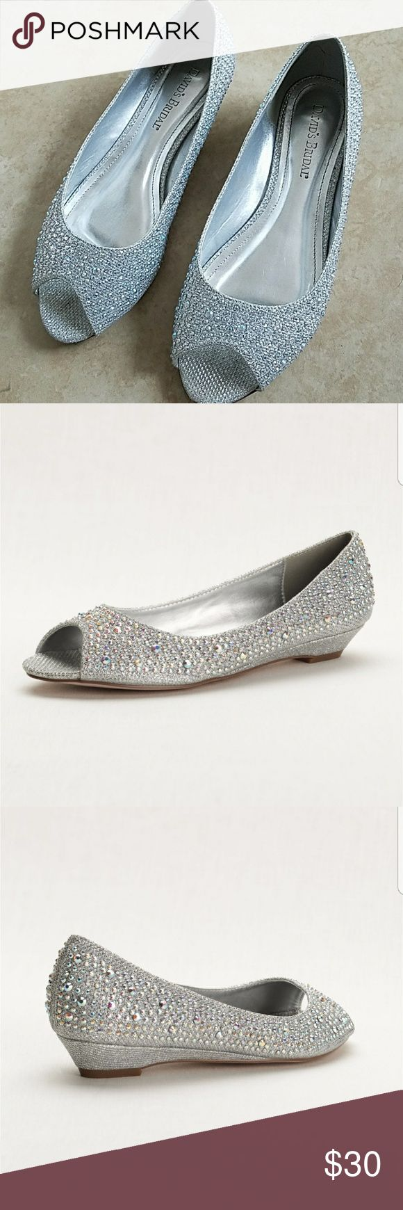 """David's Bridal peep toe wedge with Aurora Borealis Beautiful 1"""" silver wedges from David's Bridal covered with Aurora Borealis crystals. Only worn once. Size 7.5. David's Bridal Shoes Wedges"""