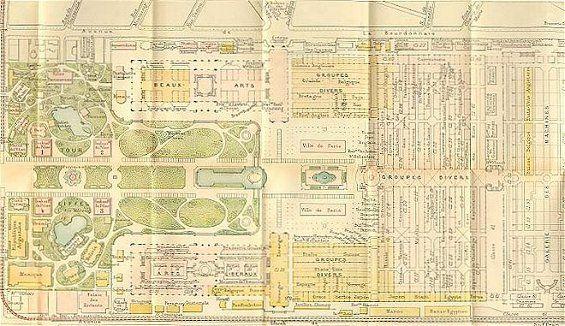 Plan général de l'Exposition universelle de 1889 qui s'était tenue sur le Champs-de-Mars à Paris.