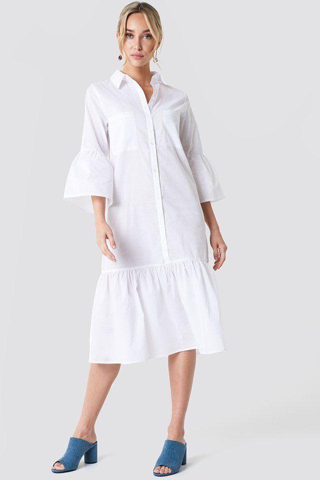 1171d2b962 Sukienka koszulowa z bufiastym rękawem NA-KD.COM