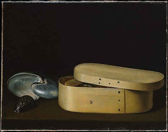 Still Life with a Nautilus, Panther Shell, and Chip-Wood Box  Sebastian Stoskopff ca.1630. Painted in Paris in the 1620s, this picture exemplifies the first great age of French still life painting. In its pared down composition, with its emphasis on subtle harmonies and the fascinating juxtaposition of two exotic shells with a simple chip-wood box filled with candied fruits, the picture looks forward to the work of Chardin.