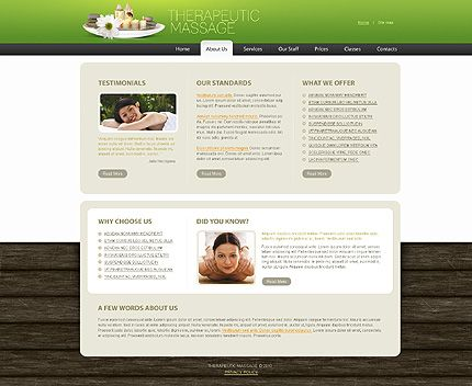 Therapeutic Massage Website Templates by Delta