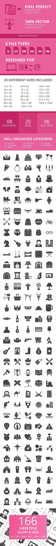 166 Lifestyle Glyph Icons #achievement #alcohol
