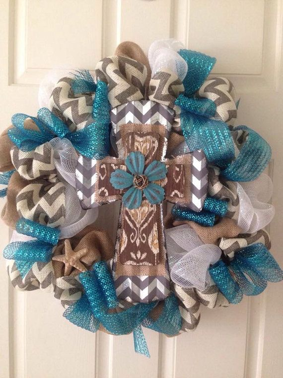 Beautiful Burlap and Deco Mesh Cross wreath by ArtsyFartsyWreaths