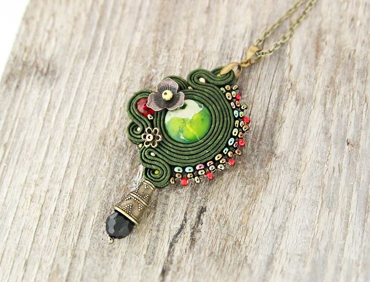 Green soutache pendant hand beaded pendant necklace gift for