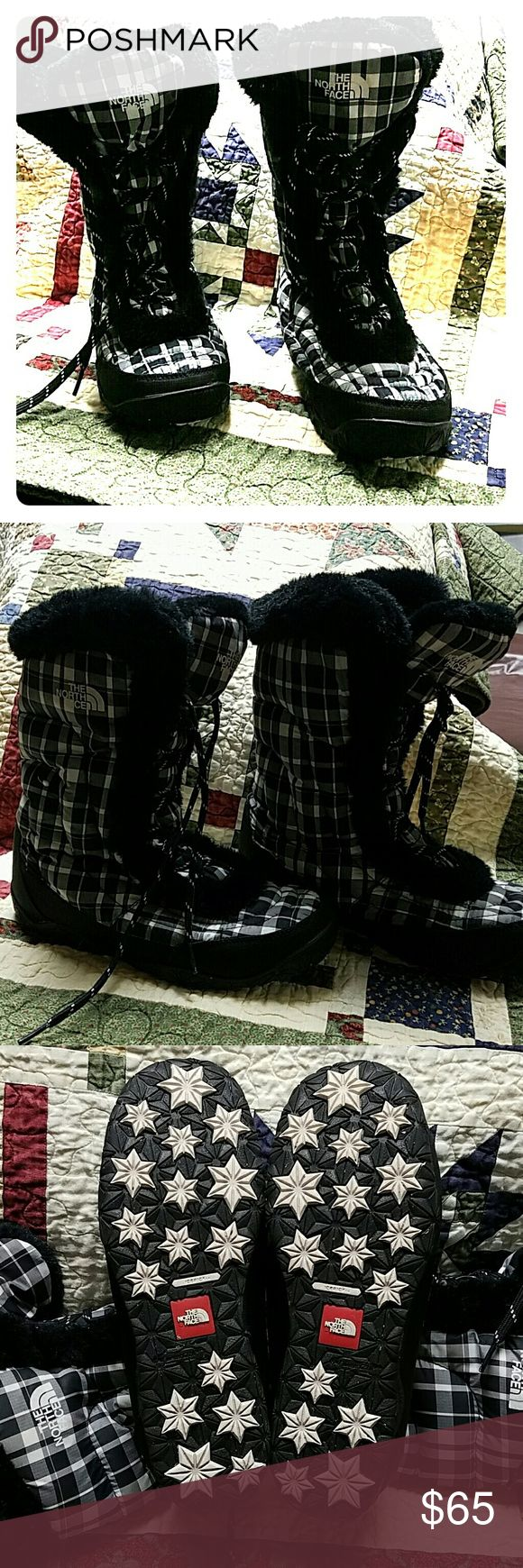North Face women's ice pick boot,  size 8 North Face ice pick woman's winter boots,  size 8. Black/white plaid.. so cute.  Worn 3 times. North Face Shoes Winter & Rain Boots