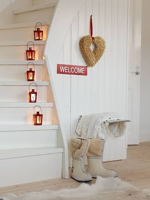 White walls, red lanterns on stairway