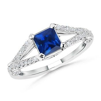 Angara Sapphire Bypass Ring Set with Diamond Band in White Gold gnjRb