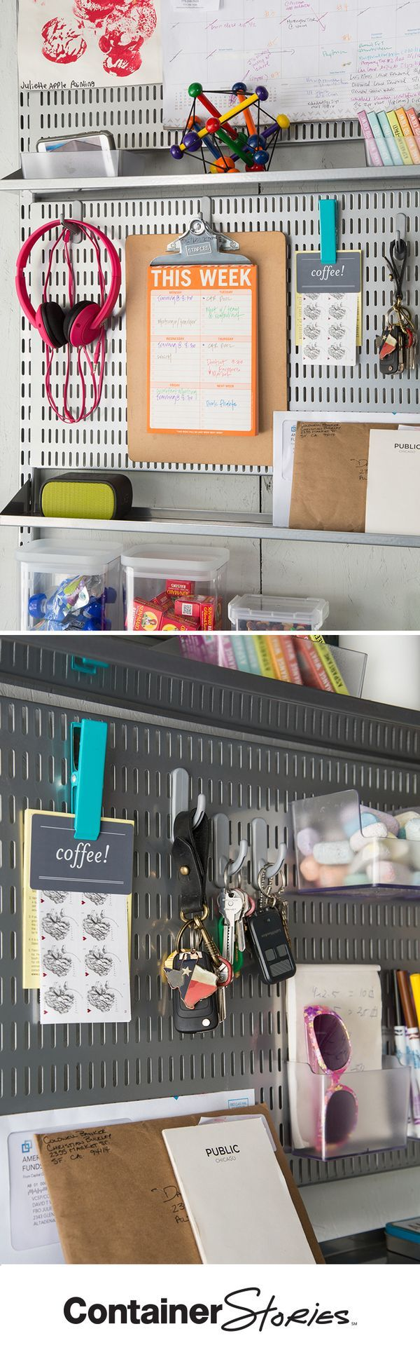 See how elfa turned this closet into Grand Central Organization! elfa utility Boards were put to great use in this solution. Keys, to-do lists, notepads and even mailing supplies are always right where they should be.