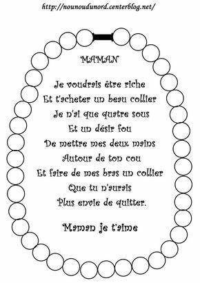 Poème fête des mères colorier ou coller des gommettes