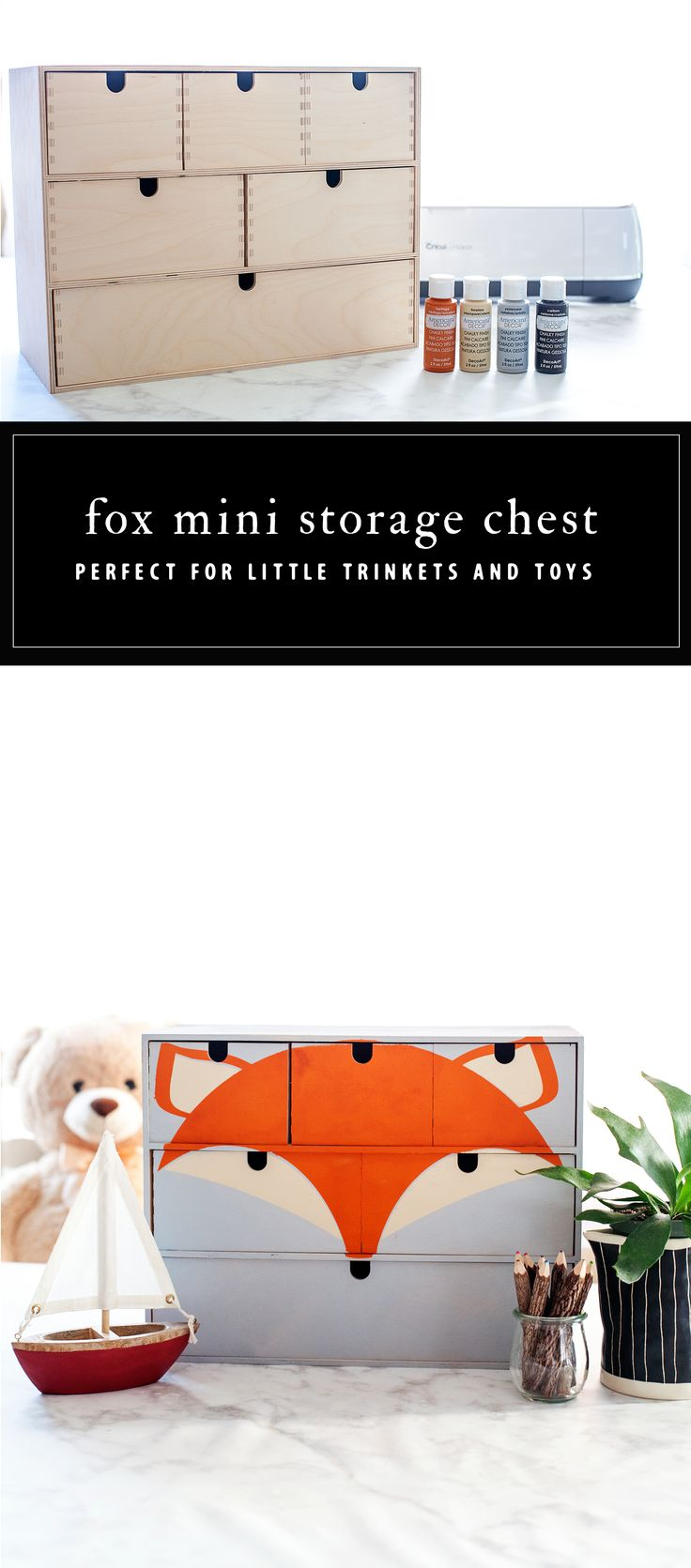 Fox Storage Chest • DecoArt IKEA Moppe Challenge – Transform a basic IKEA pieces into a custom storage chest for a kid's room!