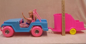 Barbie Jeep & Horse Trailer Mud Monster USA