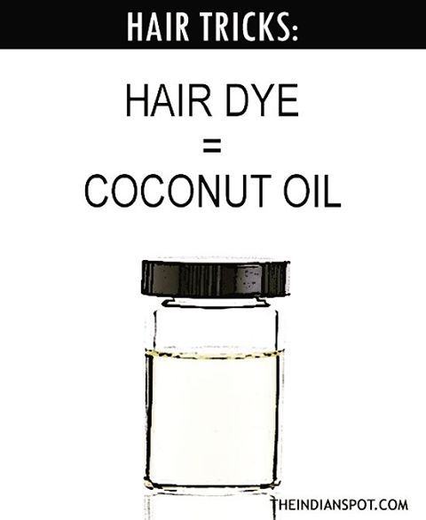 Coconut Oil Hair dye: Oil your hair with coconut oil before coloring.  Not only does coconut oil make the hair easier to section off, it also helps to reduce the damage and dryness caused due to hair coloring. More hair tips on the blog 👉🏼 #hairdye #haircolor #haircare #coconuthairdye #smoothhair #shinyhair #hacks #organiccoconutoil #theindianspot