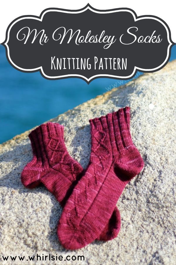Mr Molesley Sock pattern by Leeana Gardiner of Whirlsie's Designs. Available as both toe up and top down versions.