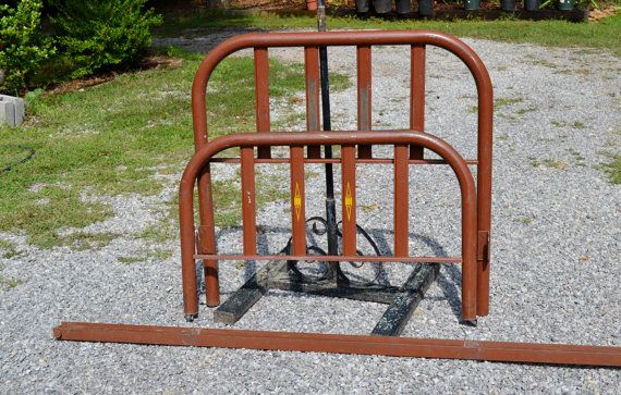 Vintage Metal Bed Twin Size Brown Headboard Footbaord Rails Rustic Child Kid Porch Furniture PanchosPorch
