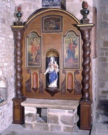 PM87001206, retable latéral nord, statue de la Vierge à l'En, église paroissiale Saint-Genest, Oradour-Saint-Genest, Haute-Vienne, Limousin