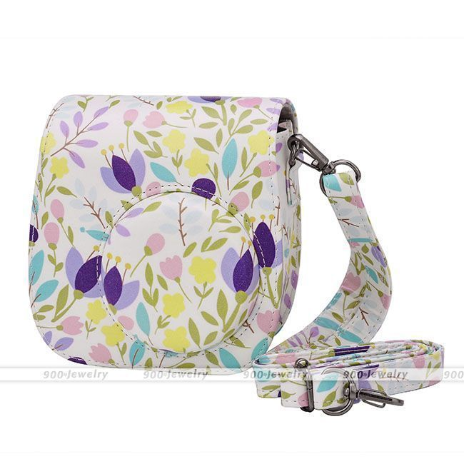 Instant Camera Case PU Leather Floral Shoulder Bag for Fujifilm Instax Mini 8 | eBay