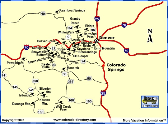 Maps Showing Colorado S Many Ski Resorts With Listings Of Places To Stay And Other Fun Things To Do While On Your Colorado Skiing Vacation