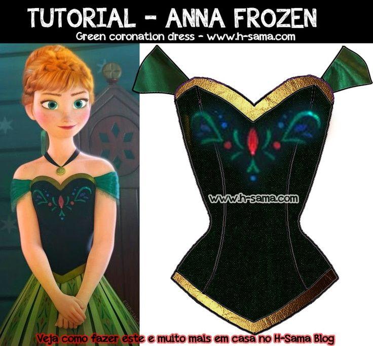Opa, a pedidos eu estou escrevendo sobre como fazer em casa o cosplay de  Anna do filme Frozen.   Esta é a versão do vestido verde usad...