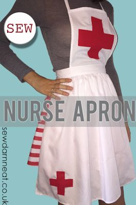Sew: Nurse Apron     I've shown you how to sew a nurse hat  and how to sew a skirt for a nurse costume , now it's time to show you how to se...