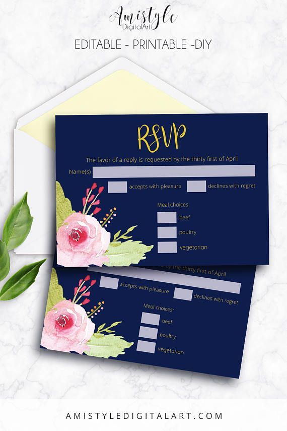 free templates for wedding response cards%0A RSVP Card Editable Navy Blue Printable Instant Download