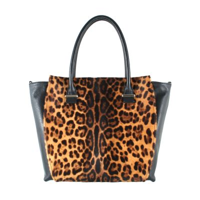 Black, leopard ponyhair leather trapeze tote bag