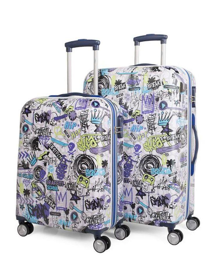 #Juego de maletas rígidas de #Skpa-t con graffitis de colores azules