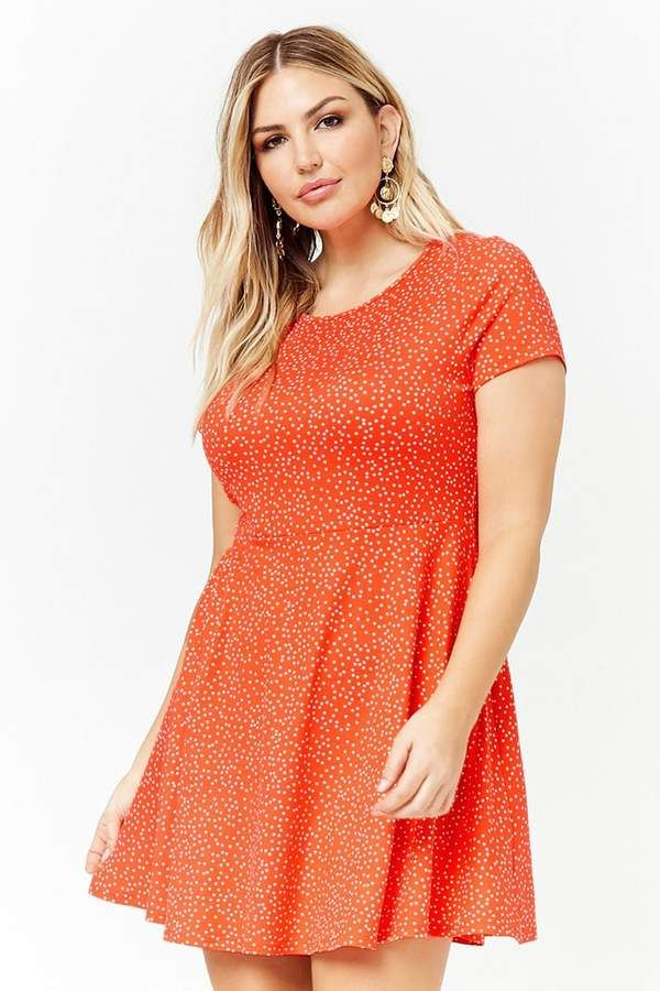 ca5dc924dae Forever 21 Plus Size Polka Dot Fit   Flare Dress~CLICK TO BUY ...