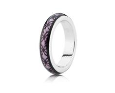 Silver ring with purple enamel...pandora jewelry...$50 USD