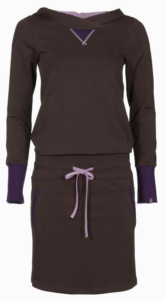 Zendee Sportieve bruine en paarse jogging dames jurk sporty dress brown and purple